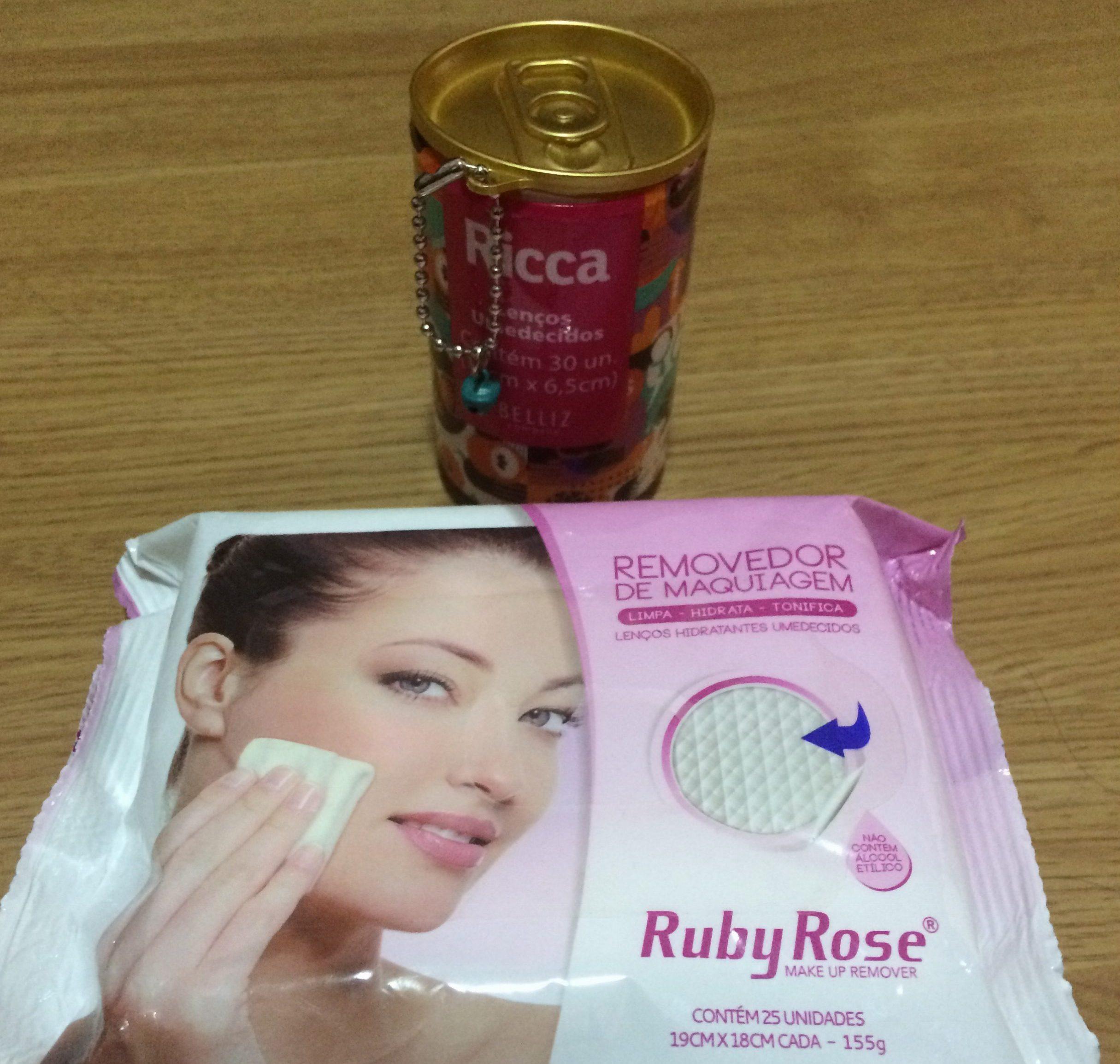 fd5b080cd Lenços para retirar a maquiagem. Ricca – R  3  Ruby Rose- R  7